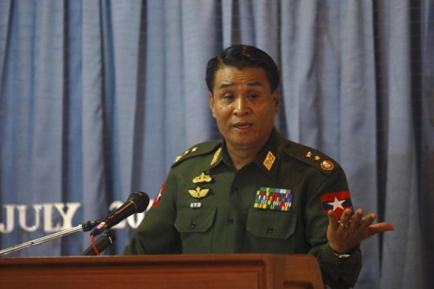 Minister for Border Affairs Lieutenant General Thein Htay addresses a news conference concerning unrest in Arakan state, at the Ministry of Foreign Affairs in Rangoon on 30 July 2012. (Reuters)