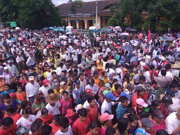 Crowds gather in Hinthada, Irrawaddy Division, to mark Martyrs' Day on 19 July 2016. (Photo: DVB)