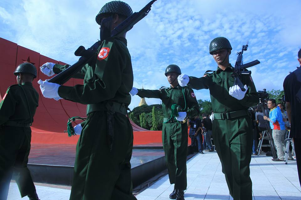 Members of Burma's armed forces march during a ceremony to mark Martyrs' Day at the Martyrs' Mausoleum in Rangoon on 19 July 2016. (Photo: Khin Maung Win / DVB)