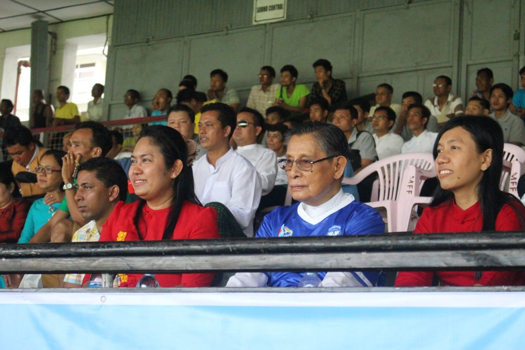 U Tin Oo was in the crowd spectating and wearing the political prisoner blue jersey. (Photo: Libby Hogan / DVB)